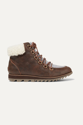 Sorel Harlow Lace Cozy Shearling And Felt-trimmed Waterproof Leather Ankle Boots - Brown