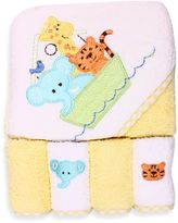 SpaSilk Ark Hooded Towel and 4-Pack Washcloth Set in Yellow