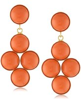 Yochi Coral-Tone Faux-Stone Mini-Chandelier Earrings