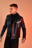 boohoo Mens Black Leather Look Printed Biker Jacket, Black