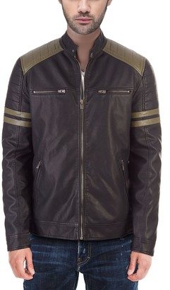 X-Ray Men's Faux-Leather Moto Jacket with Stripe Detail