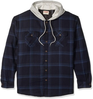 Wrangler Authentics Men's Big and Tall Long Sleeve Quilted Lined Flannel Shirt Jacket with Hood