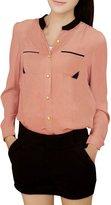 Allegra K Women Button Down Patch Pockets Long Sleeve Blouse Sheer Chiffon Shirt