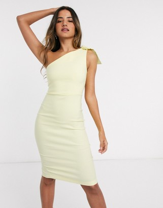 Vesper mini dress with bow detail in yellow