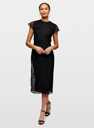 Miss Selfridge Black AO Lace Midi Dress