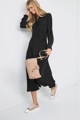Next Womens Black Maxi Utility Long Sleeve Shirt Dress - Black