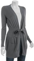 carbon cotton-blend tie front long cardigan