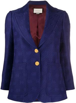 Gucci Jacquard-Knit Monogram Blazer
