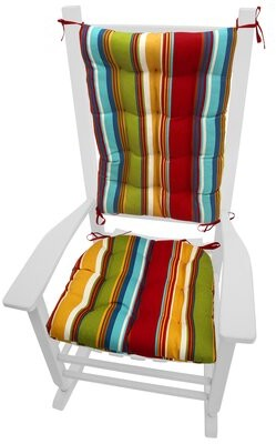 Highland Dunes Indoor/Outdoor Rocking Chair Cushion Highland Dunes Color: Red / Gold / Green