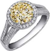 Lafonn Platinum Plated Sterling Silver Round Simulated Diamond & Micro Pave Split Shank Ring
