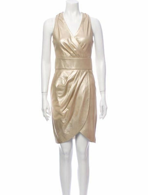 Thumbnail for your product : Jitrois V-Neck Knee-Length Dress Metallic