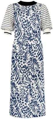 Clea Stuart Navy Feathers Dress
