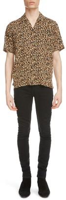Saint Laurent Leopard Camouflage Short Sleeve Button-Up Shirt