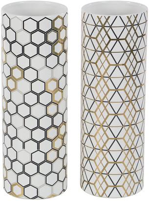 Uma Enterprises Uma Set Of 2 Tall, White, Cylinder Vases With Black & Gold Eclectic Patterns