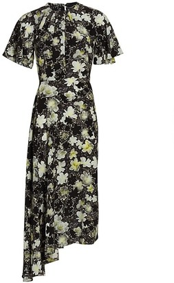 Deveaux Joan Printed Silk Dress