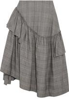 Simone Rocha Asymmetric Ruffled Prince Of Wales Checked Cotton-blend Midi Skirt - Gray