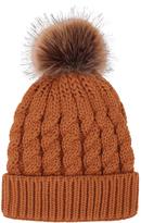 Simplicity Orange Cable-Knit Faux-Fur Pom-Pom Beanie