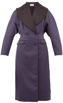 Christopher Kane Oversized Double-breasted Satin Coat - Womens - Navy