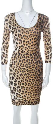 Just Cavalli Multicolor Leopard Print Fitted Three Quarter Sleeve Dress S