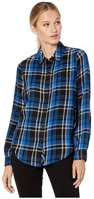 Lucky Brand Classic One-Pocket Plaid Shirt (Cobalt Multi) Women's Clothing