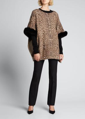 Sofia Cashmere Leopard-Print Cashmere Boat-Neck Poncho with Fur Cuffs