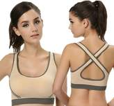 ookatoo Women's Padded Bra Top Athetic Vest Gym Fitness Sports Yoga Stretch Tank (, Back)