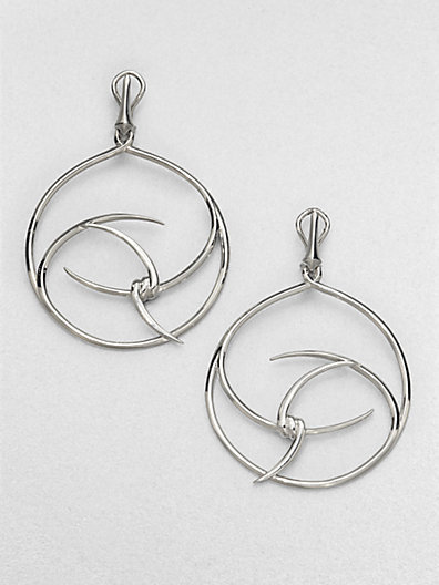 Stephen Webster Sterling Silver Barb Hoop Drop Earrings/2.75""