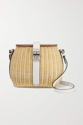 Prada Giardiniera Leather-trimmed Wicker Shoulder Bag - White