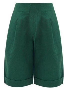 Apiece Apart Enchanta Long Linen Cotton Shorts - Green