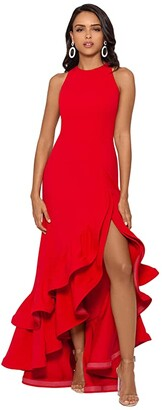 Betsy & Adam Long Halter Crepe Tiered Ruffle Gown (Red) Women's Dress