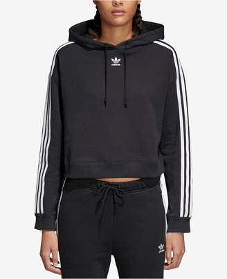 adidas adicolor Cropped Cotton Three-Stripe Hoodie