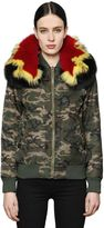 Mr & Mrs Italy Camo Bomber Jacket W/ Patchwork Fur