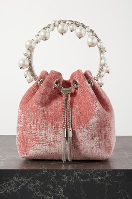 Jimmy Choo Bon Bon Faux Pearl-embellished Velvet Bucket Bag - Pink
