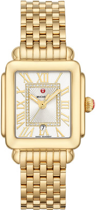Michele Deco Madison Mid Diamond-Dial Watch, Yellow