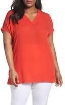 Sejour Plus Size Women's Short Sleeve V-Neck Tunic Top