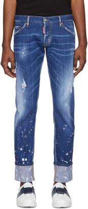 DSQUARED2 Blue Splashed Cuff Regular Clement Jeans