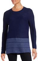 Lord & Taylor Striped Hem Knit Sweater