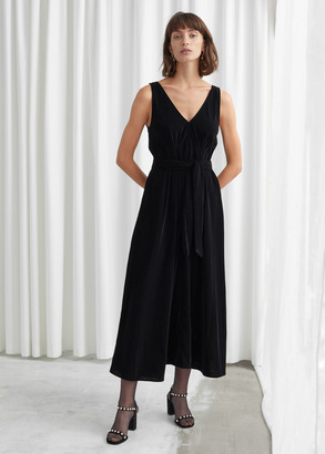 And other stories Belted Velvet Midi Dress