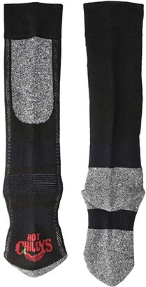 Hot Chillys Kids Premium Mid Volume Sock (Toddler/Little Kid/Big Kid) (Black/Heather) Kids Shoes