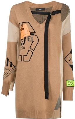 Diesel Strap-Neck Multi Motif Sweater