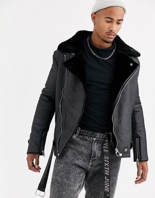 Sixth June faux shearling biker jacket in black
