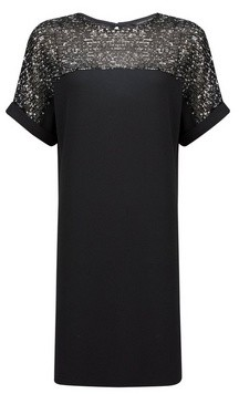 Dorothy Perkins Womens Black And Silver Sequin Shift Dress, Silver