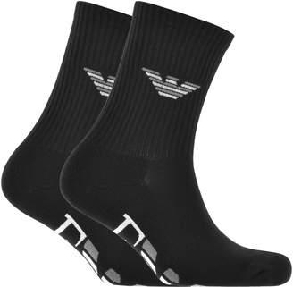 Giorgio Armani Emporio 2 Pack Sport Socks Black