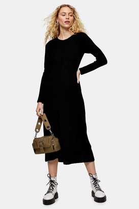 Topshop Black Open Back Midi Dress