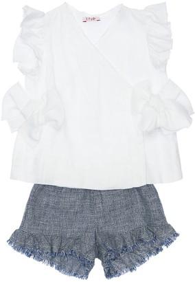 Il Gufo Ruffled Linen Shirt & Shorts