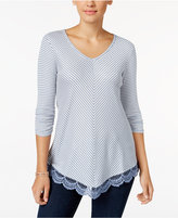 Style&Co. Style & Co. Petite Striped Crochet-Hem Top, Only at Macy's