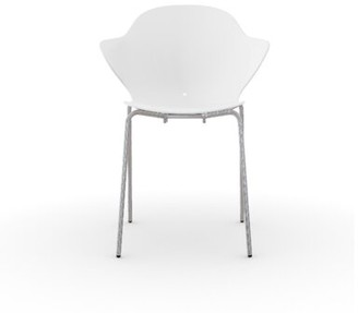 Calligaris Saint Tropez Stackable Chair Frame Finish: Chromed, Seat Finish: Glossy Optic White Polycarbon