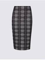 M&S Collection Scuba Checked Pencil Midi Skirt