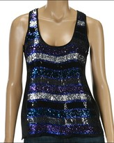 French Connection - Fast Sassy Sleeveless Sequin Tank (Black/Blue)