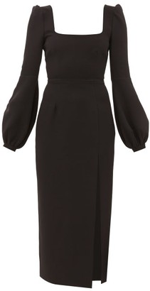 Racil Giada Balloon-sleeve Square-neck Crepe Dress - Black